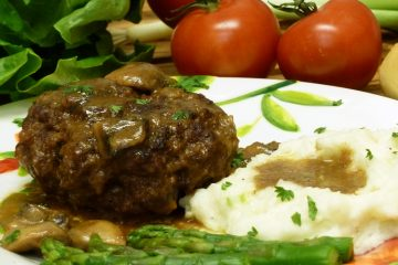 Take a stroll down memory lane with hearty Salisbury steak in mushroom gravy with mashed potatoes.