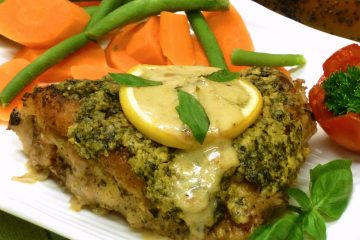 Enjoy easy, gourmet-quality pesto wine chicken at home. So juicy and flavorful.