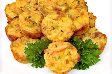 Bite-sized crab muffins are packed with seafood flavor for a perfect party finger-food.