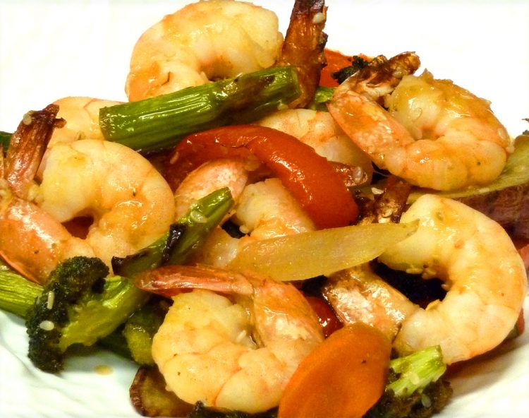 A simple, flavorful sauce brings orange shrimp and vegetables to life.