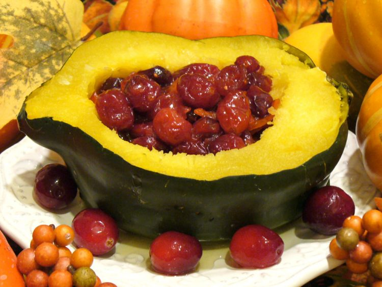 Cranberry stuffed acorn squash is so yummy, you might consider it dessert.