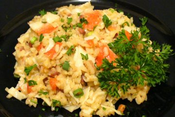 Crab rice pilaf brings a bit of the ocean to your rice dish. Great as a side or main dish.