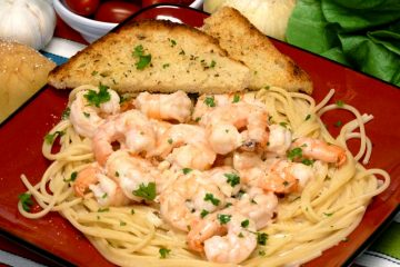 Creamy shrimp scampi is rich with garlic, lemon, and cheese. Have it on the table in under 30 minutes.