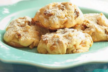 Smoky Mountain Snowcaps cookies are a scrumptious butter cookie loaded with walnuts and white chocolate.