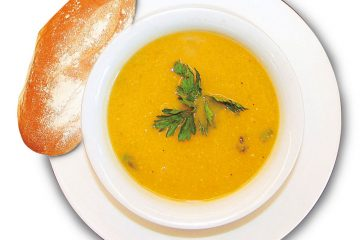 Creamy, spicy pumpkin bisque gets a little kick from chile peppers.