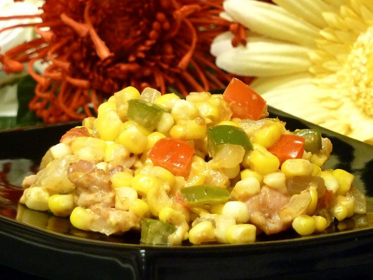 """Bacon Corn Saute is a delicious new twist on traditional Southern """"fried"""" corn."""