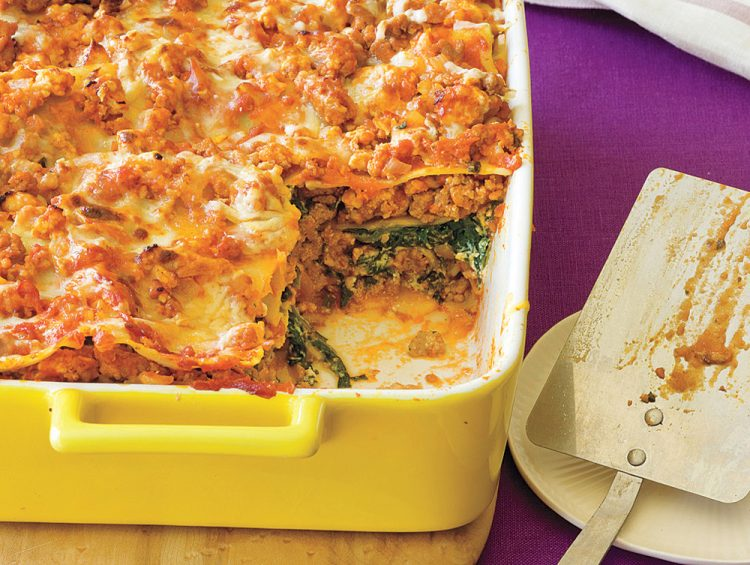 Colorful low-fat, low-calorie Ultimate Spinach Turkey Lasagna loses nothing in the flavor department.
