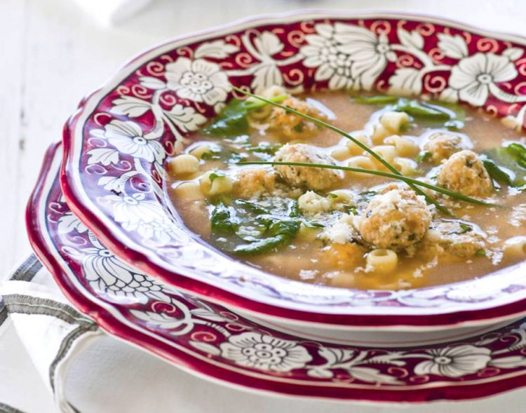 Yummy Italian Wedding Soup gets kicked up a notch with the addition of Italian Sausage and spinach.