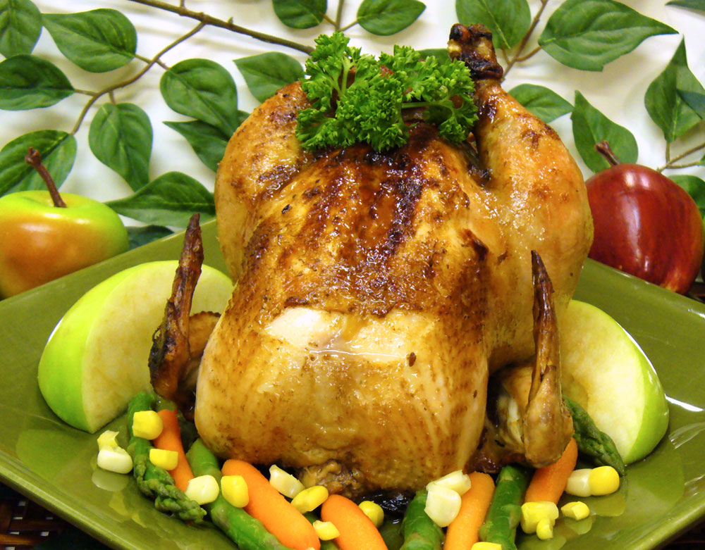 Apple Cornish Hens have a savory stuffing and braised in a sumptious apple brandy sauce.