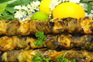 Orange Ginger Shish Kebabs take beef and shrimp to new levels.