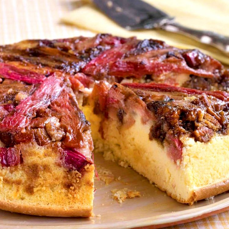 Rhubarb Upside-Down Cake is a scrumptious sweet/tart twist on the traditional pineapple version. Make it!