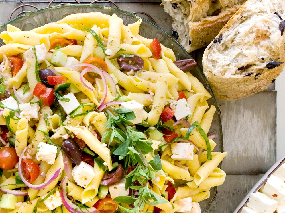 Greek Pasta Salad is a colorful, welcome side dish for any meal. Great at room temperature.