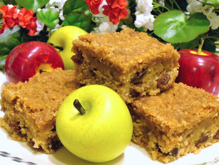 Apple Raisin Bars are lightly-spiced bars delightfully moist. Streusel topping means no frosting necessary. Yum!