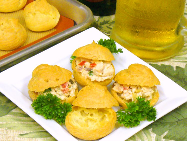 Beer Puffs are light and airy tiny little containers for your favorite salad spread. Perfect finger food for parties.