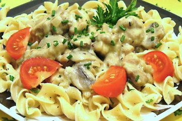 Chicken Stroganoff is a tasty, inexpensive knock-off of the classic beef stroganoff.