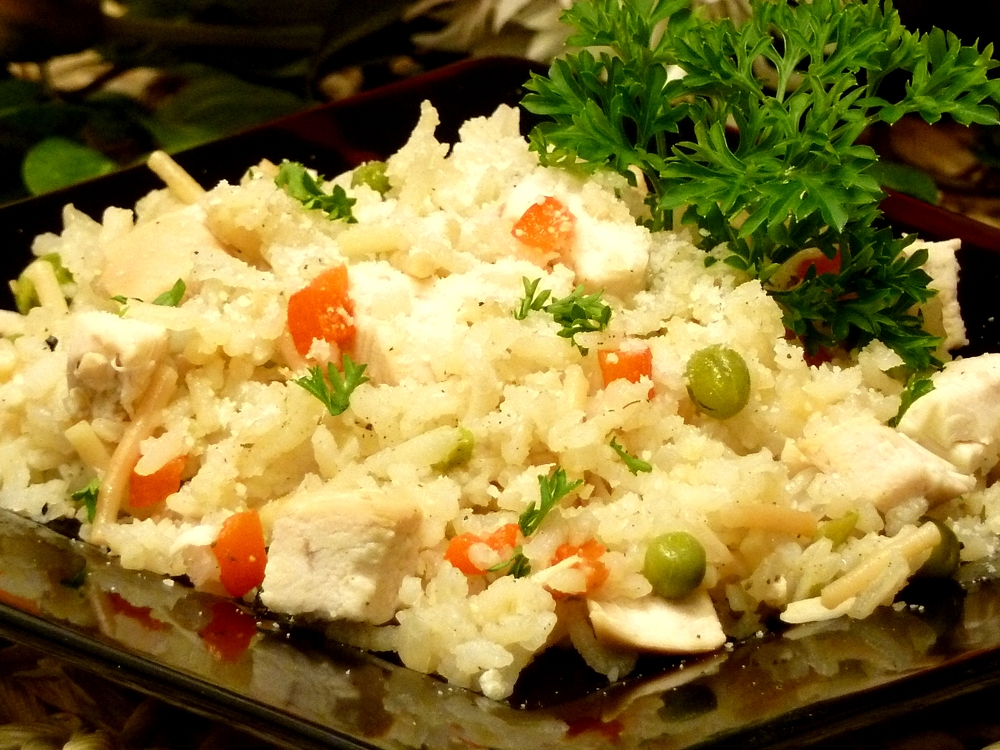 Cupboard Chicken Pilaf is a homemade version of that San Francisco treat with the bonus of leftover chicken. Yum!