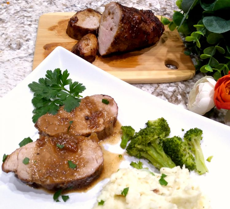 Peach Glazed Pork Tenderloin features a simple glaze made of just three ingredients for a classy entree.