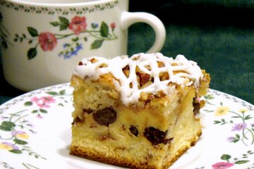Bread Pudding Coffee Cake is moist and delicious, made from sweet dinner rolls, raisins, and cinnamon streusel.